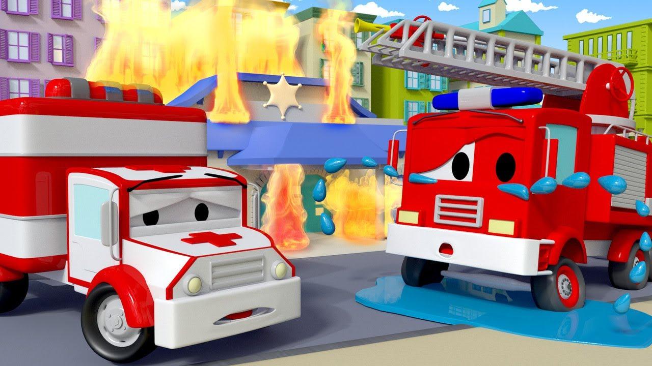 Ambulanta Amber Franck,camionul de pompieri si ochiul umflat Orasul Masinilor ! desene cu camioane