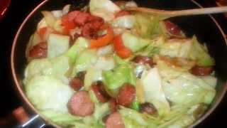 Low carb meal: Cabbage and sausage