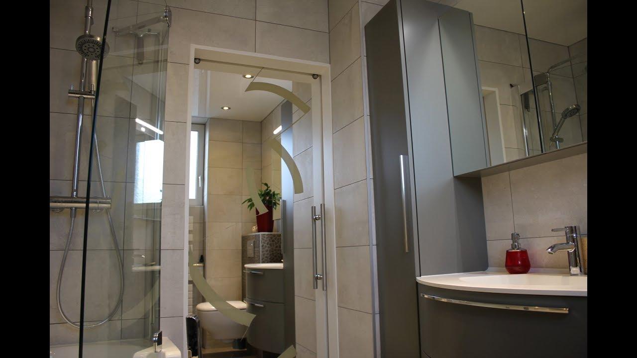 Installation d 39 une porte coulissante casali miroir et - Porte coulissante salle de bains ...