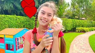 Nastya quer ajudar a Mia a  escolher os brinquedos  e  surpreender o Artem