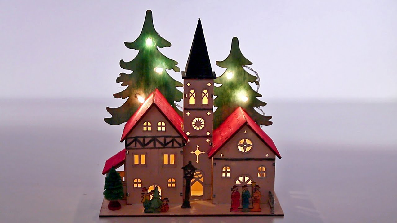 christmas village weihnachtsdorf wooden led house painted house 1 - Wooden Led Christmas Decoration