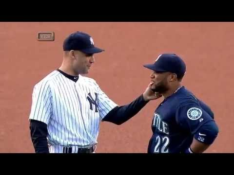 Derek Jeter plays with Robinson Cano