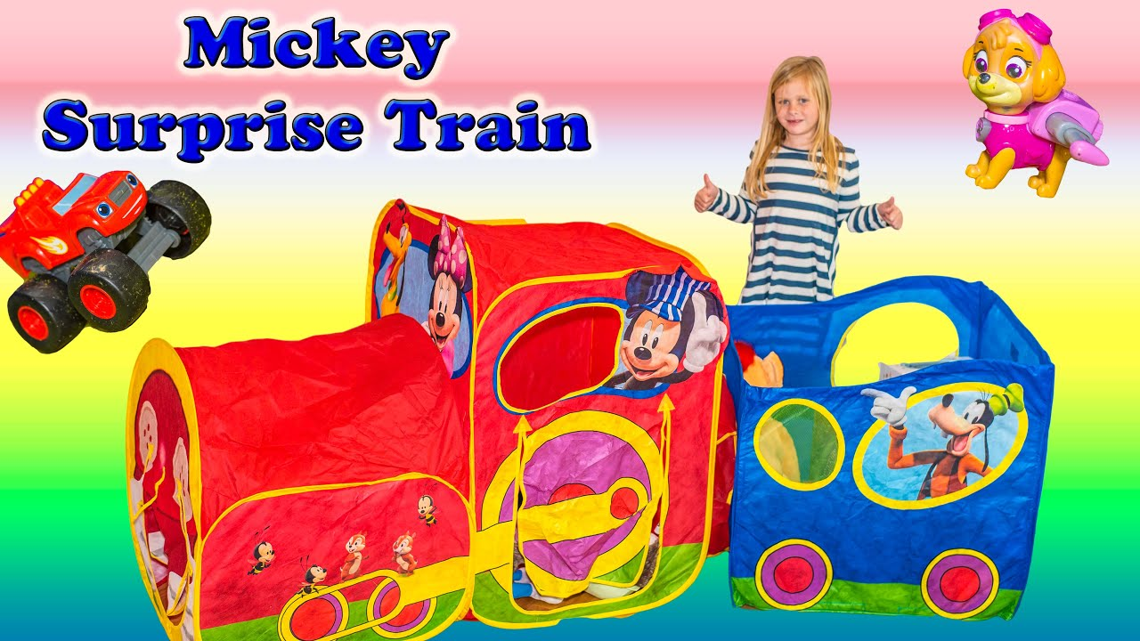 MICKEY MOUSE CLUBHOUSE Train Surprise Tent with Paw Patrol Blaze Zootopia and Frozen Surprise Video - YouTube  sc 1 st  YouTube & MICKEY MOUSE CLUBHOUSE Train Surprise Tent with Paw Patrol Blaze ...