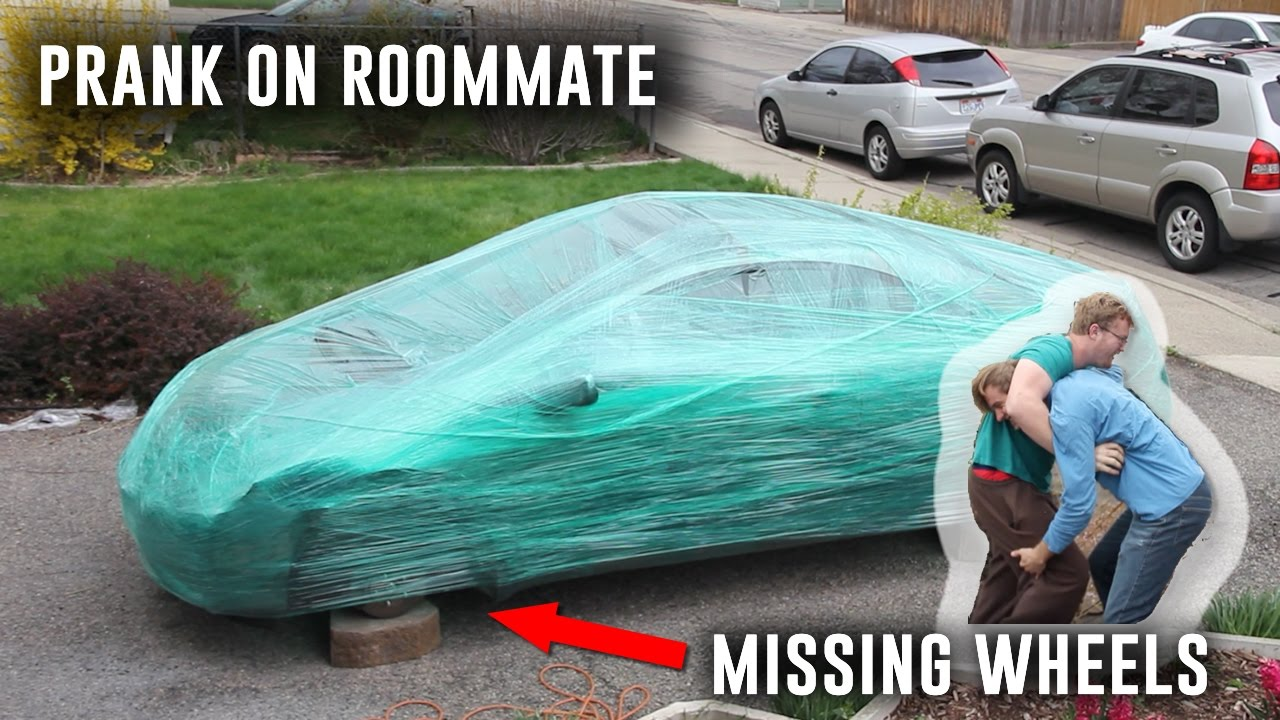 Saran Wrap Car: WE STOLE WHEELS OFF HIS CAR!!