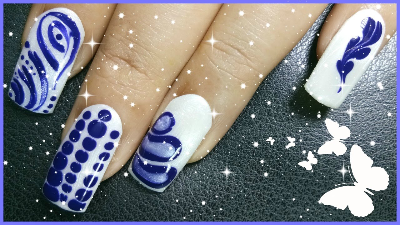 4 Different Nail Art Designs Using White And Blue Nail Polish Colour