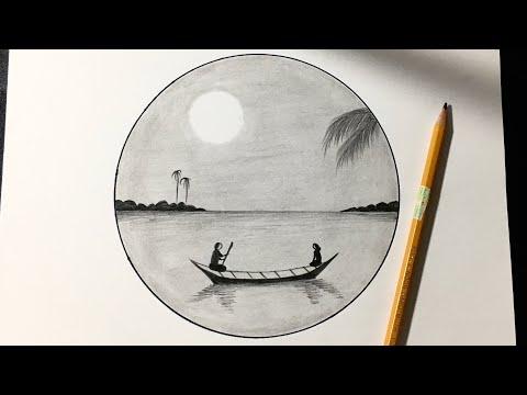 Cách Vẽ Tranh Phong Cảnh Bằng Bút Chì Đơn Giản Mà Đẹp | how to draw easy scenery with pencil