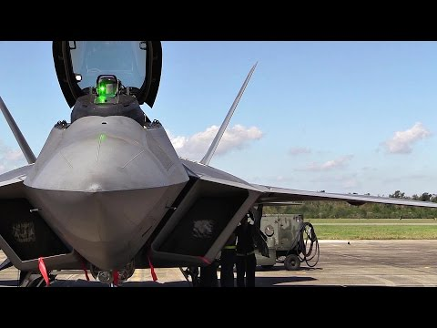 F-22 Raptors Preflight, Takes Off At Naval Air Station New Orleans