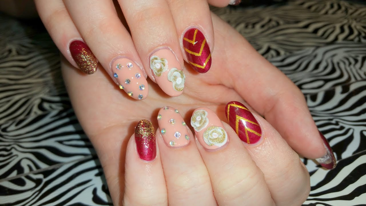 Acrylic infill l deep burgundy red glitter gold l nail design acrylic infill l deep burgundy red glitter gold l nail design youtube prinsesfo Choice Image