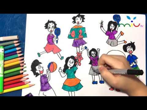 Vẽ và tô mầu chủ đề giờ ra chơi ❤️ Các trò chơi của Bé