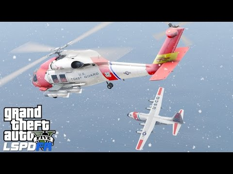 GTA 5 LSPDFR USCG Coastal Callouts |Snow Day Rescue During A Blizzard| United States Coast Guard Mod