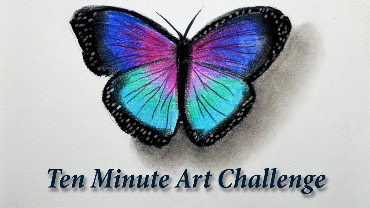 10 Minute Drawing Challenge -- Butterfly with pastels ...