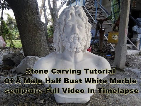 Stone Carving ¦ Colossal marble sculpture of the head of Zeus ¦ greek statues ¦ time lapse