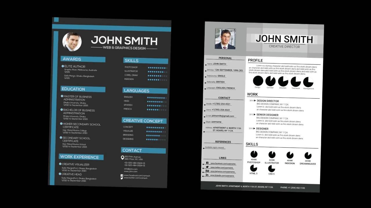 free professional clean resume free illustrator template