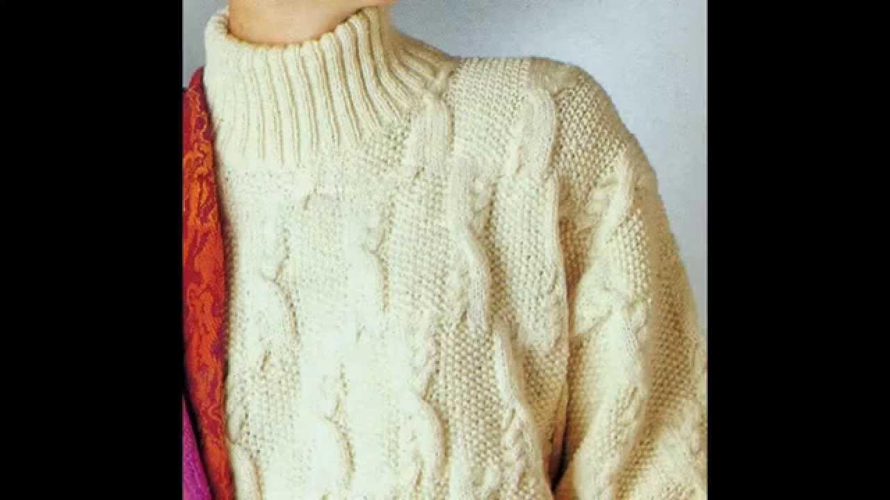 Patrón para tejer jersey con trenzas y punto de arroz - YouTube