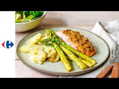 saumon-en-croûte-miel-moutarde,-asperges-vertes-et-pommes-de-terre-sautées