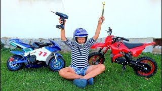 Funny Baby Motorbike Broken DOWN Ride on Red Cross Bike Fixing Wheel with Pocket Bike, Sportbike