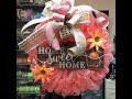 How to make a deco mesh Peach Bubble method with peaches Home Sweet Home Sign