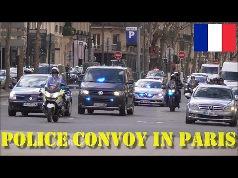 Convoy of the French Minister Interior in Paris