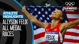 All Allyson Felix 🇺🇸 Olympic Medal Races | Athlete Highlights