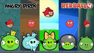 ALL ANGRY BOSSES FIGHT in RED BALL 4 TOTAL 6 BOSS  [ ANGRY BIRDS ] are SUPER FUN (MUST WATCH)