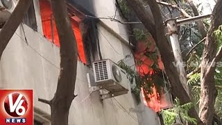 fire breaks out in andhra jyothi office at jubilee hills   hyderabad   v6 news
