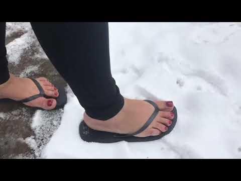 Flip flops in the snow.