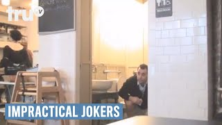 Impractical Jokers - Man Asks for More Toilet Paper in a Restaurant(Watch as this man is dared to open the door of a restaurant bathroom while he's on the toilet to ask for more toilet paper! New episodes premiere Thursday, July ..., 2011-11-16T13:58:35.000Z)