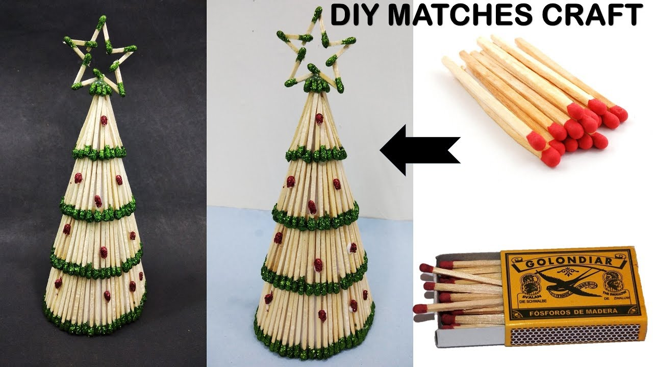 Diy christmas tree making with matches christmas decoration home decor youtube Christmas home decoration youtube