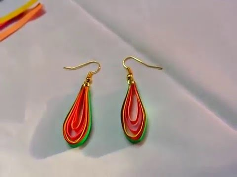 Paper Crafts Ideas How To Make Water Proof Quilling Oval Shaped Earrings You