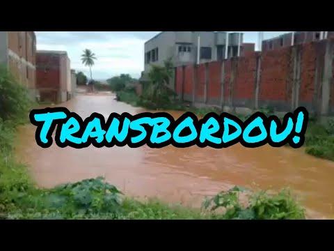 Chuva: Riacho do Belém, em Guanambi-BA, transborda.