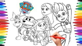 PAW PATROL Coloring Book | How to Draw Paw Pups for Kids | Everest Tracker Katie Ryder Robo-dog