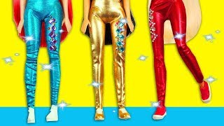 Barbie Spor Kıyafeti Yapımı - Barbie Kolay Kıyafet Yapımı - Tayt ve Bluz Kendin Yap Barbie Eşyaları