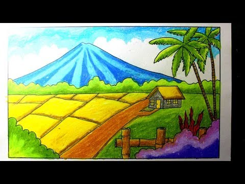 Oil Pastel Ricefield Scenery For Kids