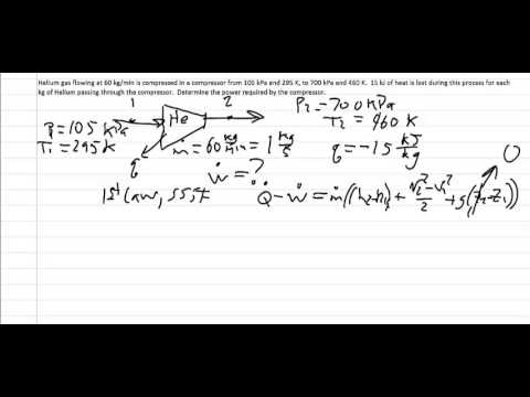 Thermodynamics: Worked example, Compressor