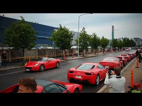 Ferrari parade in Helsinki. 250 Tdf, Dino, Testarosa, 430 Scuderia and 458 Speciale