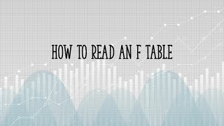 How to read an F table in statistics