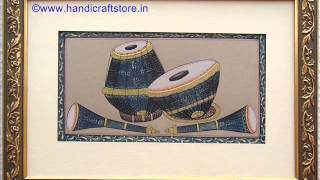 Indian Musical Instrument Painting on Paper, handicraftstore.in