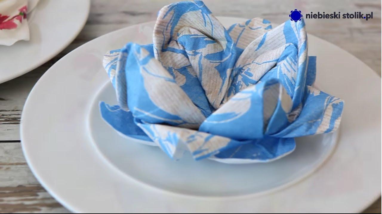 Składanie Serwetki W Kwiat Lilii Sklep Z Dekoracjami Dla Horeca Niebieskistolikpl