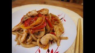 Простые рецепты: Терияки удон (야끼우동) Лапша с курицей и овощами в устричном соусе