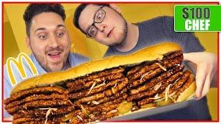$100 McDonalds McRib! (12,000 Calories) GIANT