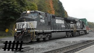 NS Trains at Tyrone, PA Train Station During Autumn with BHRS …