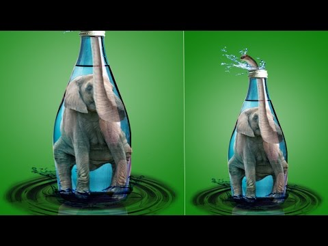 Photo manipulation elephant inside bottle  photoshop tutorial cc