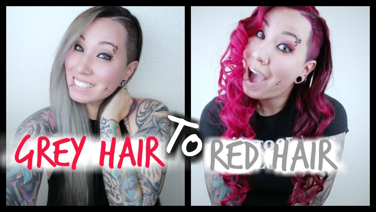 Grey Hair To Red Hair Tutorial - YouTube