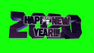 Happy New Year 2020 3D green screen with chaning reflection animation