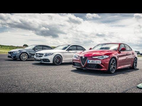 BMW M3 vs Merc C63 S vs Alfa Giulia - Drag Races - Top Gear