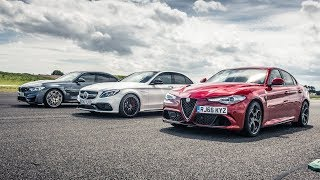 BMW M3 vs Merc C63 S vs Alfa Giulia | Drag Races | Top Gear