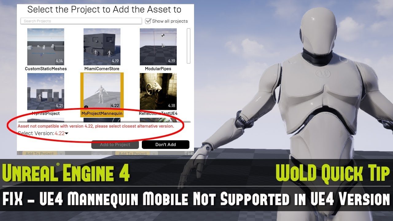 UE4 Tip #11: FIX - UE4 Mannequin Mobile Not Supported (Use Mannequin Mobile  in ANY UE4 Version)