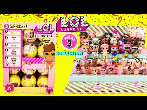LOL SURPRISE Series 3 FULL COLLECTION With Cupcake JR + Full Case of LOL LITTLE SISTERS Unboxing