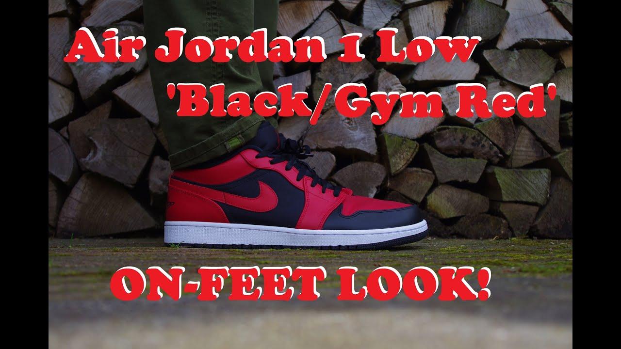 5b94566fde7c ON FEET LOOK  Air Jordan 1 Low  Black Gym Red  - YouTube