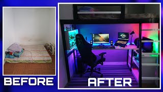 DIY LOFT BED  W/ GAMING AREA |Small Room Makeover Ultimate Gaming Room Setup w/ LED expert Lighting